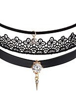 cheap -Women's Rhinestone Leather Lace Choker Necklace - Fashion Sweet Circle Necklace For Party / Evening Daily