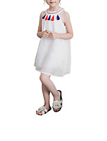 cheap -Girl's Daily Holiday Solid Colored Dress, Cotton Polyester Summer Sleeveless Vintage Boho White