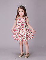 cheap -Girl's Party Going out Print Dress, Cotton Polyester Spring Summer Short Sleeves Cute Active Red