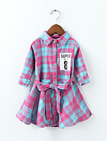 cheap -Girl's Daily Sports Floral Plaid Dress, Cotton Spring Fall Long Sleeves Simple Casual Red Blushing Pink