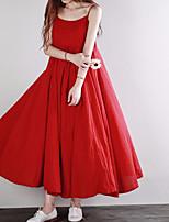 baratos -Mulheres Solto Vestido - Básico, Côr Sólida Com Alças Longo