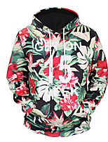 cheap -Men's Long Hoodie - Floral, Print Hooded
