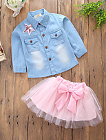 cheap -Girls' Daily Going out Solid Patchwork Clothing Set, Cotton Polyester Spring Summer Long Sleeves Cute Casual Blushing Pink