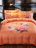 cheap -Duvet Cover Sets Floral 4 Piece Poly/Cotton Jacquard Poly/Cotton 1pc Duvet Cover 2pcs Shams 1pc Flat Sheet