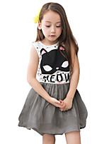 cheap -Girl's Daily Solid Dress, Cotton Linen Bamboo Fiber Acrylic Spring Sleeveless Simple Gray