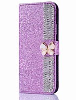 cheap -Case For Apple iPhone X iPhone 8 Plus Card Holder Wallet Rhinestone with Stand Flip Magnetic Full Body Cases Solid Color Butterfly