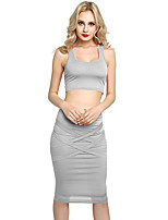 abordables -Mujer Corto Tank Tops - Color sólido, Ahuecado Con Tirantes Alta cintura Falda