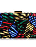 cheap -Women's Bags Polyester Metal Evening Bag Crystal Detailing for Wedding Event/Party All Seasons Black Silver Red Purple Rainbow
