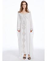 baratos -Mulheres Kaftan Abaya Vestido - Bordado, Sólido Decote V Longo