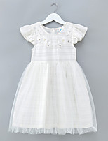 cheap -Girl's Daily Solid Dress, Polyester Spring Summer Short Sleeves Simple White Blushing Pink