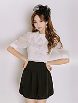 cheap -Women's Cute Shirt - Solid Colored, Pleated Skirt