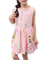 cheap -Girl's Daily Holiday Solid Colored Floral Dress, Cotton Polyester Summer Sleeveless Cute Basic White Blushing Pink