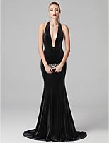 baratos -Sereia Decote mergulhador Cauda Escova Veludo Baile de Formatura / Evento Formal Vestido com Pregas de TS Couture®