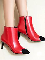 abordables -Mujer Zapatos Cuero Cuero de Napa Primavera Otoño Botas de Moda Confort Botas Tacón Stiletto Botines/Hasta el Tobillo para Casual Negro