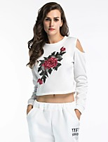 cheap -Women's Simple Cotton T-shirt - Floral, Embroidered