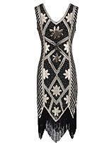 abordables -Gatsby le magnifique Rétro Gatsby Costume Femme Robes Doré noir +Doré noir + argent Rouge + noir. Vintage Cosplay Polyester Sans Manches