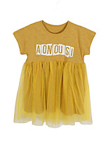 cheap -Girl's Daily Holiday Solid Print Dress, Cotton Polyester Spring Summer Short Sleeves Simple Active Yellow