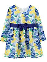 preiswerte -Mädchen Kleid Alltag Solide Blumen Baumwolle Leinen Bambusfaser Acryl Frühling Langarm Einfach Retro Blau