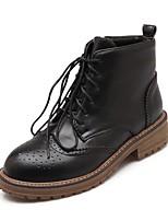 Недорогие -Жен. Обувь Дерматин Зима Армейские ботинки Ботильоны Ботинки На низком каблуке Круглый носок Ботинки для Повседневные Черный Коричневый