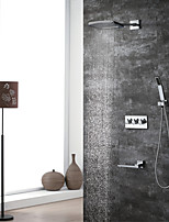 cheap -Contemporary Wall Mounted Rain Shower Handshower Included Ceramic Valve Three Handles Four Holes Chrome, Shower Faucet