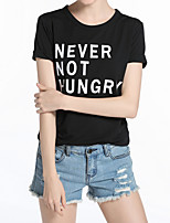 cheap -Women's Holiday Street chic Cotton T-shirt - Letter, Basic