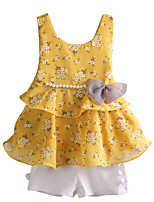 cheap -Girls' Daily Floral Clothing Set, Cotton Polyester Summer Sleeveless Basic Blushing Pink Yellow