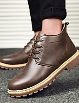 cheap -Men's Shoes PU Winter Fall Combat Boots Comfort Boots Booties/Ankle Boots for Casual Gray Yellow Brown