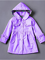 cheap -Girls' Daily Going out Solid Colored Trench Coat, Cotton Polyester Spring Fall Long Sleeves Active Blue Green Purple Fuchsia Khaki