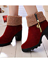 cheap -Women's Shoes PU Fall Winter Bootie Comfort Boots Chunky Heel Booties/Ankle Boots for Casual Black Red