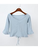 abordables -Tee-shirt Femme, Couleur Pleine simple Sexy Col en V Slim