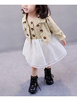 cheap -Girl's Daily Color Block Dress, Polyester Spring Long Sleeves Vintage Khaki