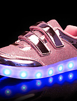 cheap -Girls' Boys' Shoes PU Spring Fall Light Up Shoes Comfort Sneakers Walking Shoes LED Magic Tape Lace-up for Casual Outdoor Gold Silver Pink