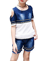 cheap -Girls' Daily Sports Solid Colored Striped Clothing Set, Cotton Polyester Summer Short Sleeves Active Basic Blue