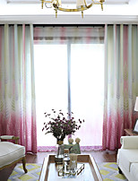 cheap -Curtains Drapes Bedroom Plants Multi Color Graphic Prints Linen&Cotton Blend Printed