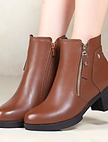 cheap -Women's Shoes Cowhide Spring Fall Fashion Boots Comfort Boots Chunky Heel Booties / Ankle Boots for Black Brown