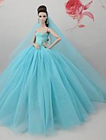 Недорогие -Платья Платье Для Кукла Барби Светло-синий Тюль Кружево Шелково-шерстяная ткань Платье Для Девичий игрушки куклы