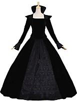 economico -Vittoriano Rococò Costume Per donna Per adulto Completi Nero Vintage Cosplay Piume d'oca Manica lunga A palloncino