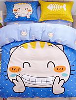 cheap -Duvet Cover Sets Cartoon 3 Piece Poly/Cotton 100% Cotton Reactive Print Poly/Cotton 100% Cotton 1pc Duvet Cover 1pc Sham 1pc Flat Sheet