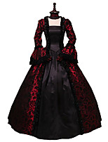 cheap -Victorian Rococo Costume Dress Black/Red Vintage Cosplay Flocked Long Sleeves Flare Sleeve