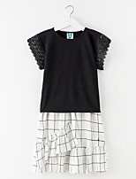 cheap -Girl's Daily Solid Dress, Cotton Summer Short Sleeves Simple Active Black