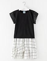 Недорогие -Девичий Платье Повседневные Хлопок Однотонный Лето С короткими рукавами Простой Активный Черный