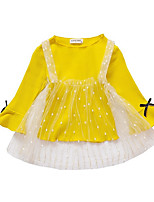 cheap -Girl's Daily Polka Dot Dress, Polyester Spring Long Sleeves Simple Green Blushing Pink Beige Yellow