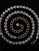 abordables -Danza del Vientre Ordinario Mujer Entrenamiento Rendimiento Poliéster Detalles de Cristal Cadena Moderno Ocio Accesorios de Cintura