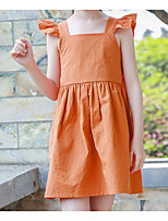 cheap -Girl's Daily Solid Dress, Cotton Summer Sleeveless Simple Orange