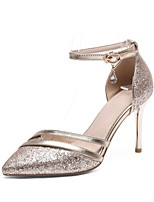 cheap -Women's Shoes Sparkling Glitter Spring Summer Ankle Strap Heels Stiletto Heel Pointed Toe Rhinestone Buckle for Office & Career Party &