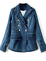 cheap -Women's Vintage Denim Jacket - Solid Colored, Pleated