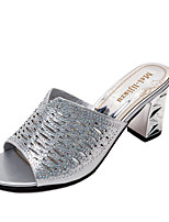 cheap -Women's Shoes PU Summer Comfort Slippers & Flip-Flops Block Heel for Casual Gold Silver