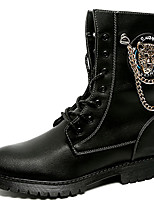 cheap -Men's Shoes Patent Leather Winter Fall Combat Boots Motorcycle Boots Boots Mid-Calf Boots for Casual Party & Evening Black
