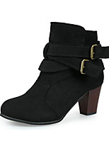 cheap -Women's Shoes PU Fall Winter Bootie Comfort Boots Chunky Heel Booties / Ankle Boots for Casual Black Yellow Brown