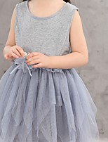 cheap -Girl's Daily Going out Solid Colored Dress, Cotton Spring Summer Sleeveless Cute Gray